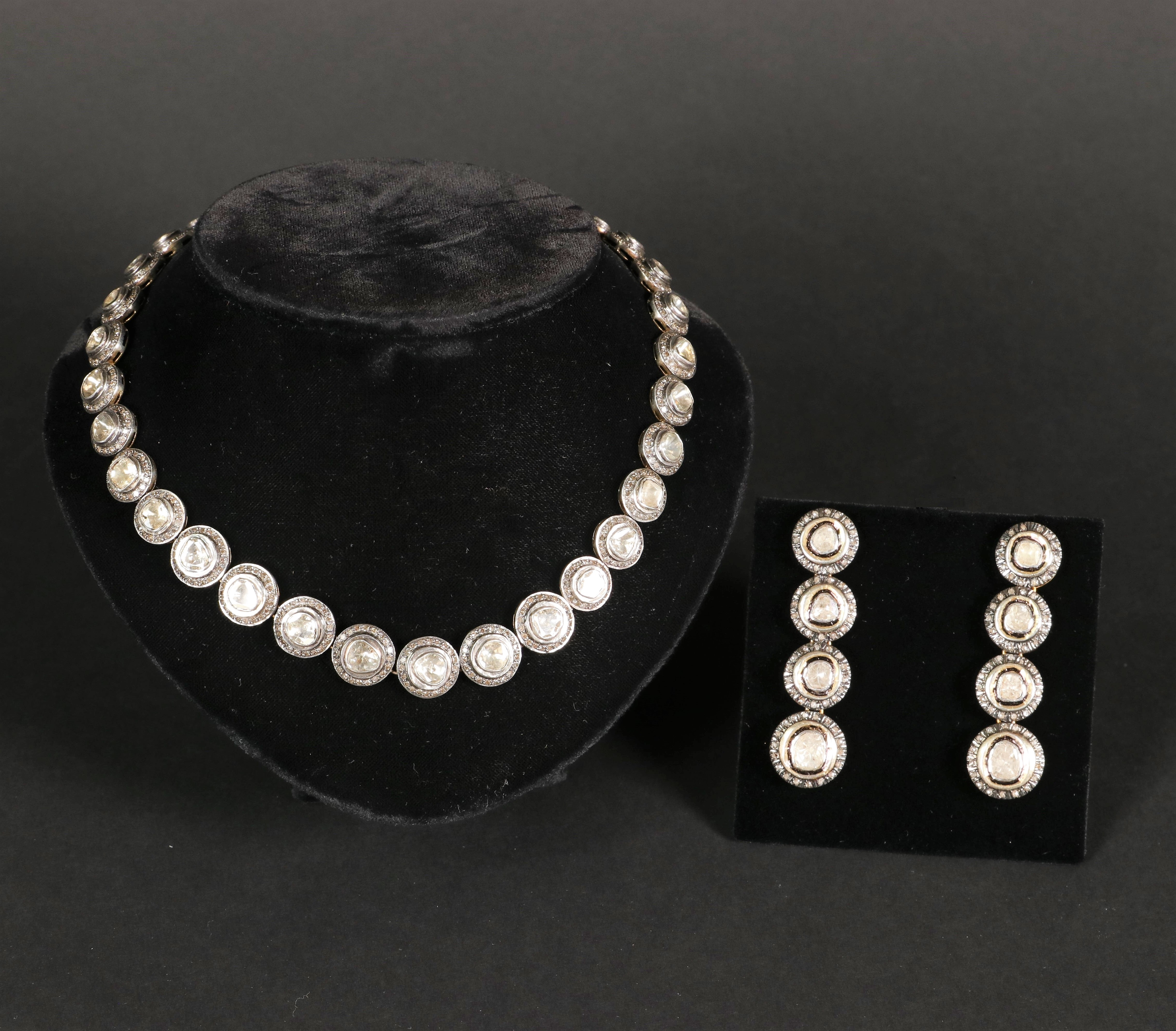 A Very Heavy Victorian Art Deco Diamond Necklace With Matching