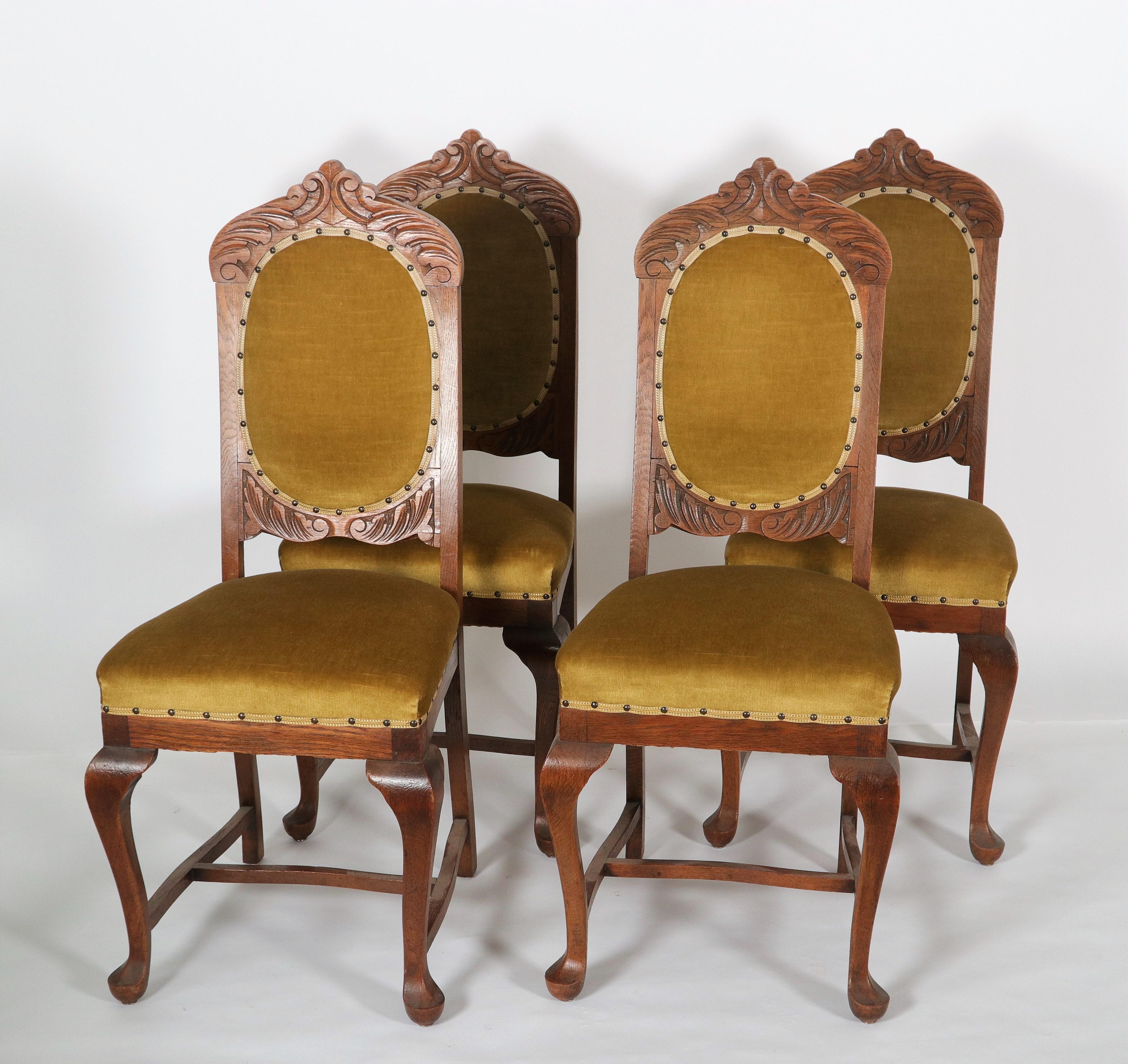 Four oak dining room chairs - Duveen
